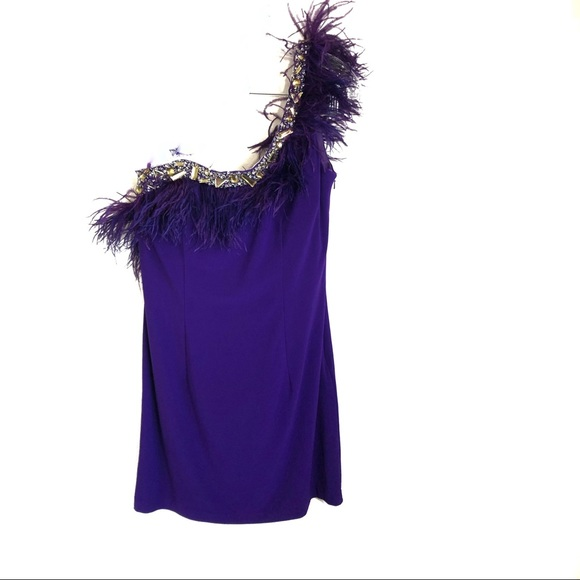 Dave & Johnny Feather One Shoulder Beaded Dress